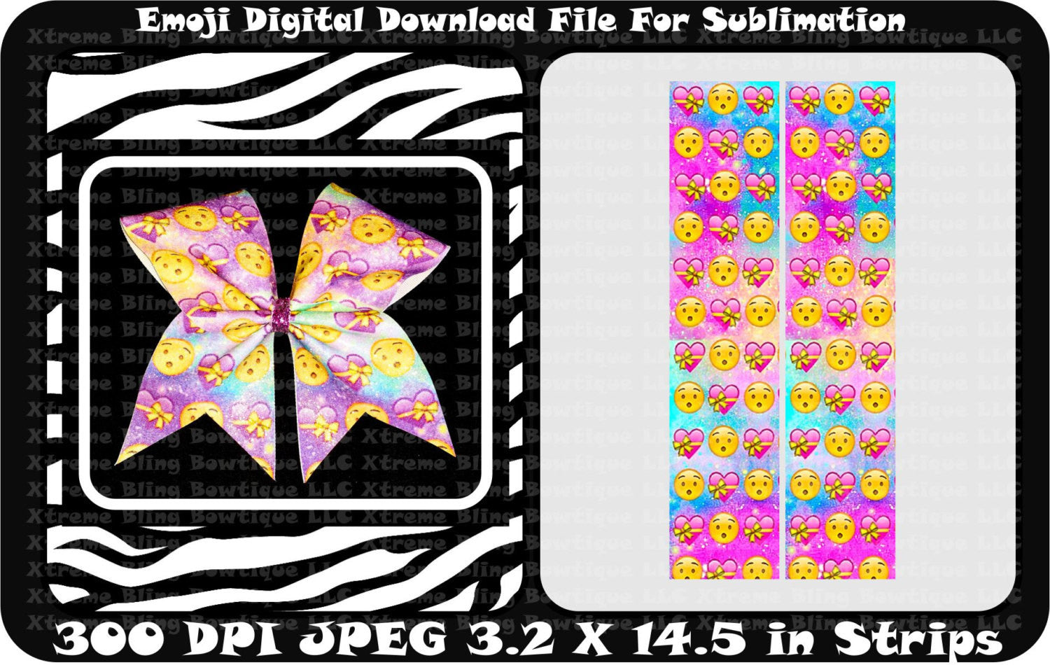 Emoji Sublimation Cheer Bow Strips Download