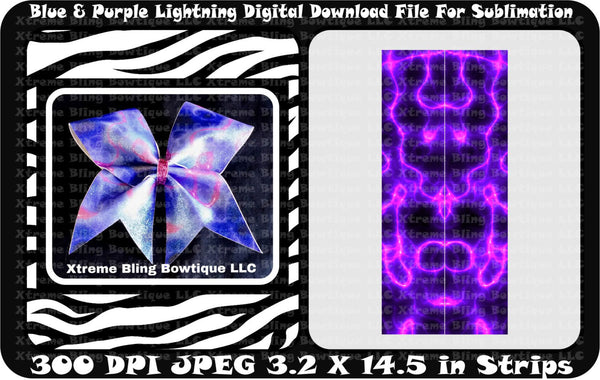 Blue and Purple Lightning Sublimation Cheer Bow Strips Download
