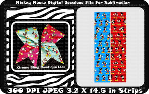Mickey Mouse Sublimation Cheer Bow Strips Download