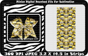 Minion Sublimation Cheer Bow Strips Download