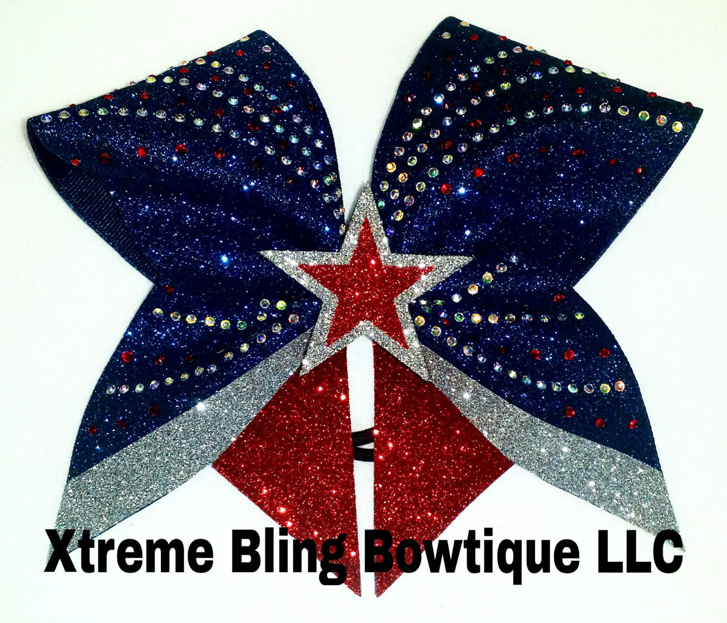 Cheer Bow-Curves/Star Rhinestone Bling