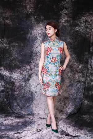 【PEONY】100% Silk Crystal Cheongsam (Sleeveless / Regular Fit) - THE SPARKLE COLLECTION by GERMAN POOL