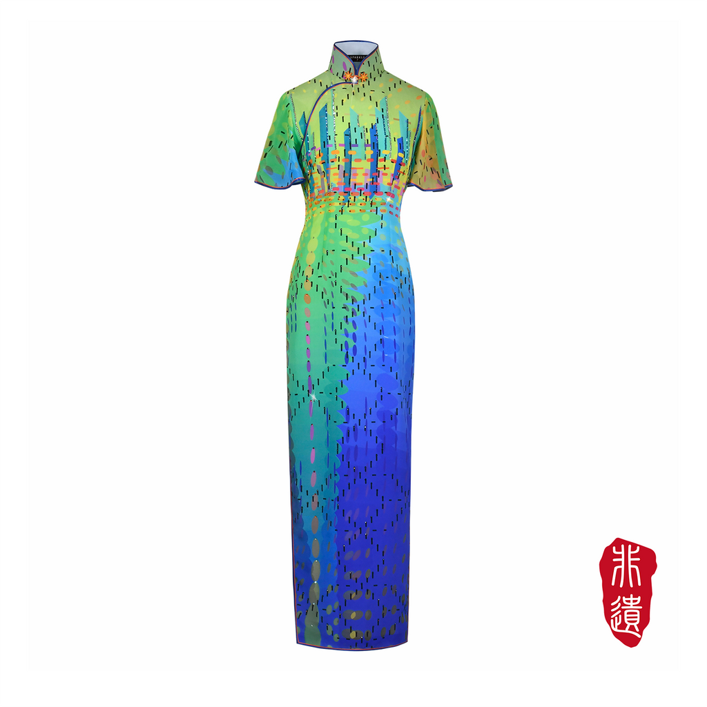 【SUNRISE SUNSET】Masterpiece Collection Haute Couture 100% Silk Cheongsam (Short Sleeve/Tailored Fit)