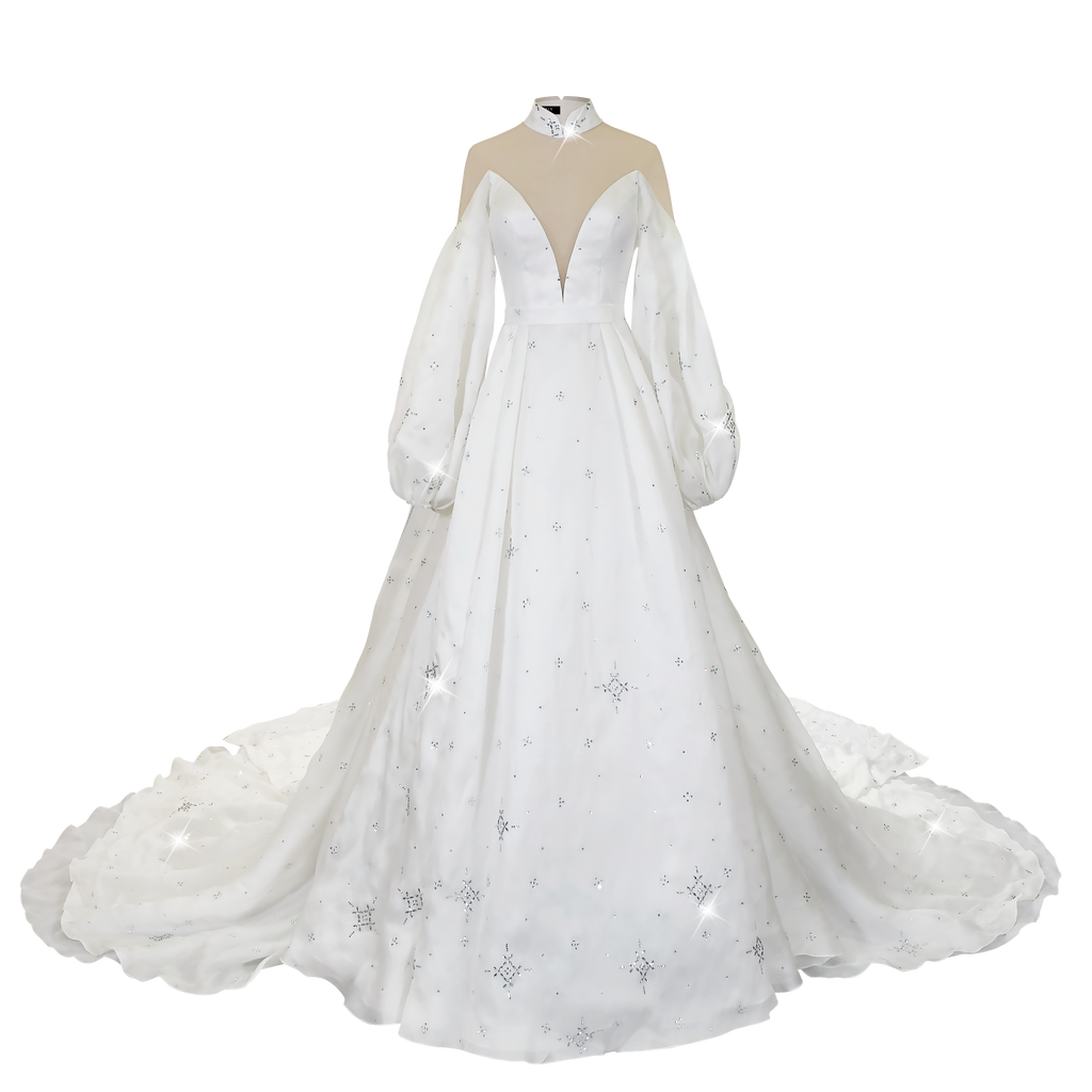 【SNOWFLAKE】Haute Couture 100% Silk Crystal Wedding Gown - THE SPARKLE COLLECTION by GERMAN POOL