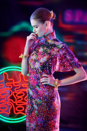 【GARDEN】100% Silk Crystal Cheongsam-Wedding Series (Short Sleeve/Regular Fit) - THE SPARKLE COLLECTION by GERMAN POOL
