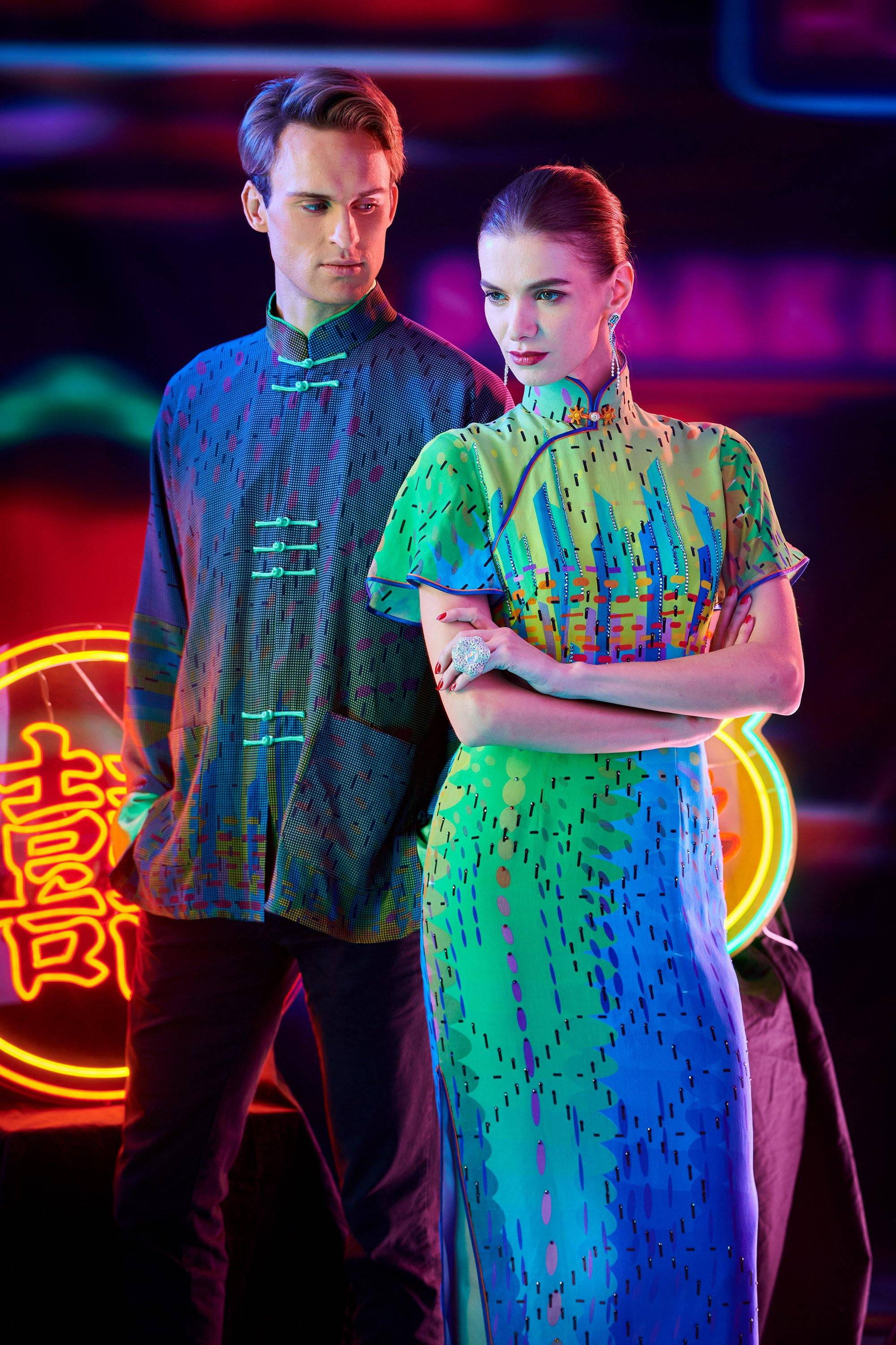 【SUNRISE SUNSET】Masterpiece Collection Haute Couture 100% Silk Cheongsam (Short Sleeve/Tailored Fit) - THE SPARKLE COLLECTION by GERMAN POOL