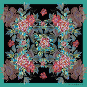 【PEONY】100% Silk Scarf with Swarovski® Crystals - Pine Green