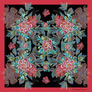 【PEONY】 100% Silk Scarf with Swarovski® Crystals - Crimson