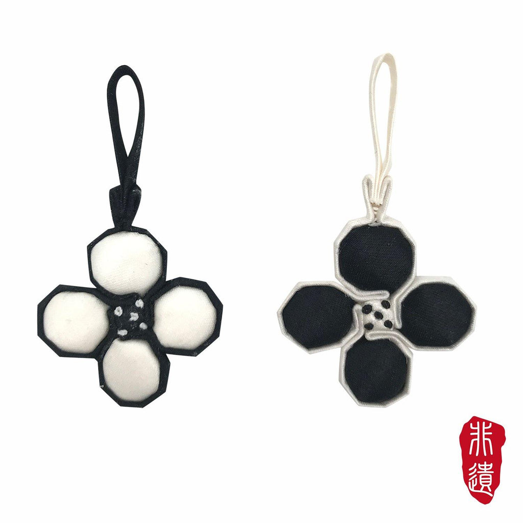 【RETRO TILE】Handcrafted Flower buttons with 925 Sterling Silver Crystal Pearl Earrings