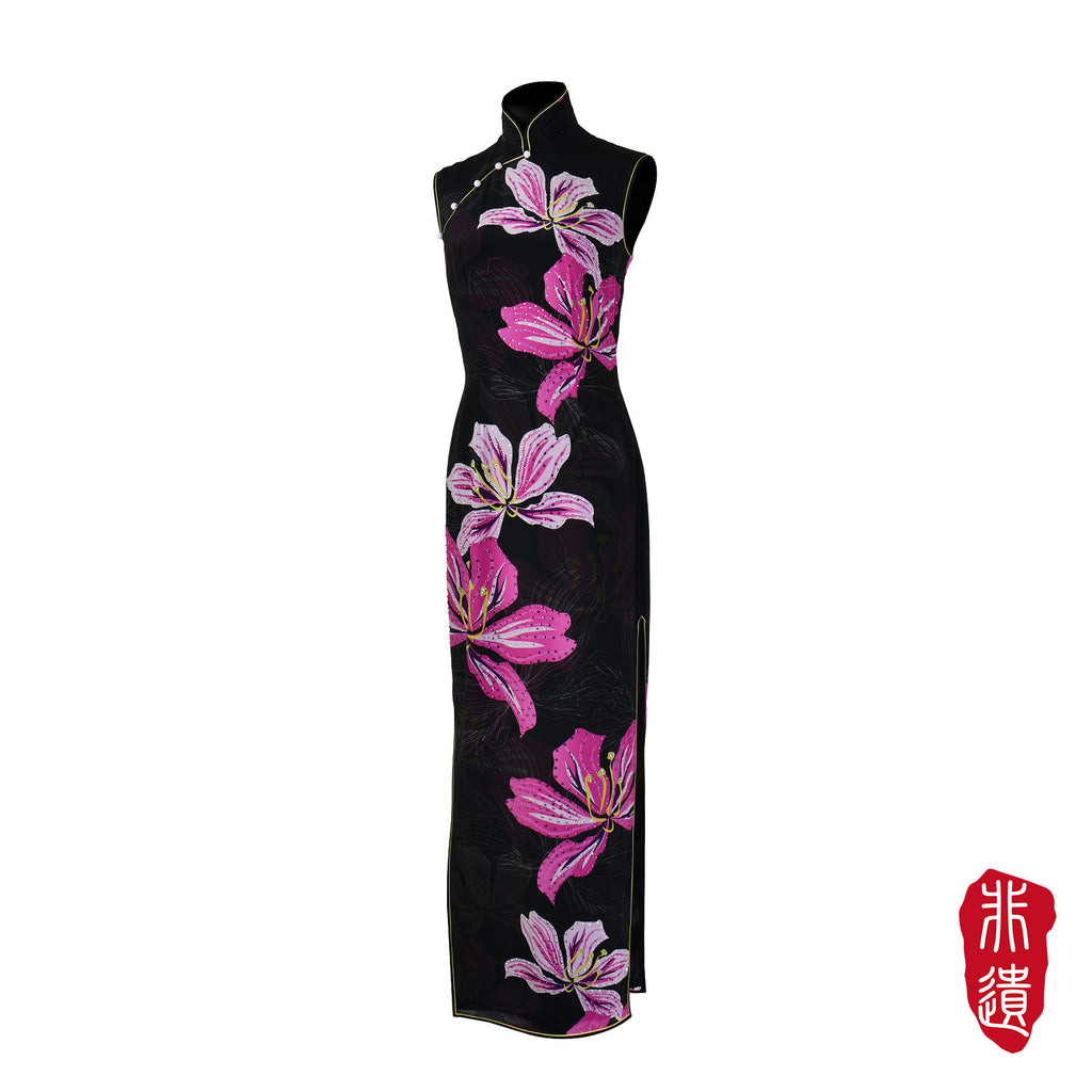 【BAUHINIA】Masterpiece Collection Haute Couture 100% Silk Crystal Cheongsam