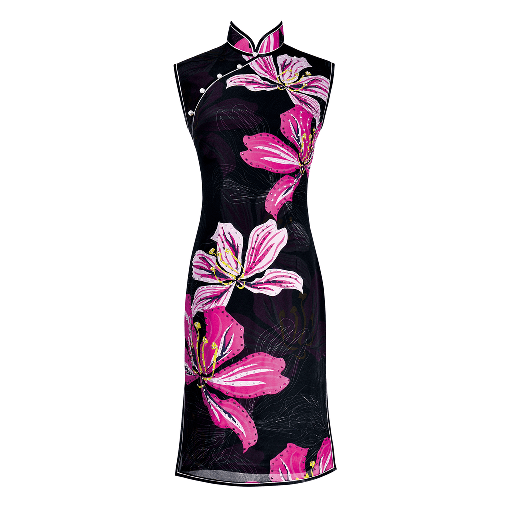 【BAUHINIA】100% Silk Crystal Cheongsam - THE SPARKLE COLLECTION by GERMAN POOL