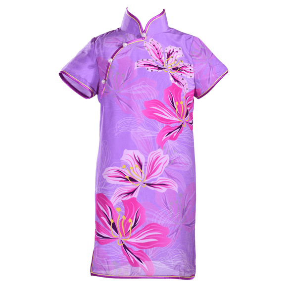 【BAUHINIA】100% Silk Qipao with Swarovski® Crystals - KID – Purple (Short Sleeves)