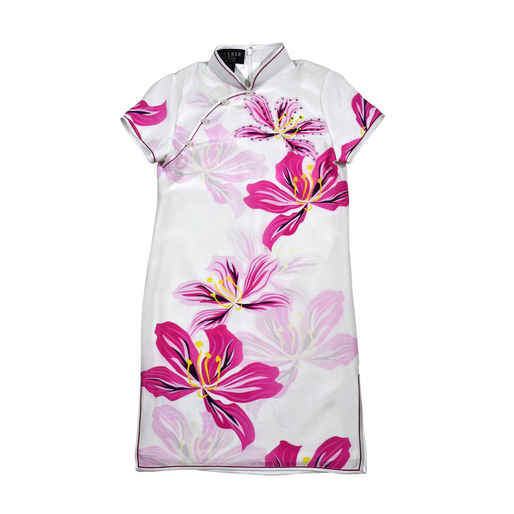 【BAUHINIA】KID 100% Silk Cheongsam with Crystals