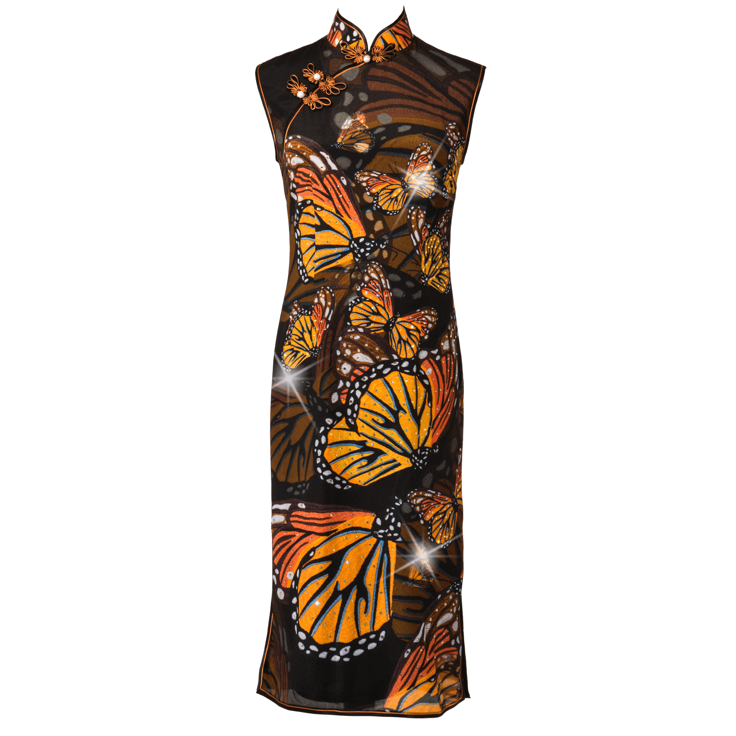 【BUTTERFLY】100% Silk Crystal Cheongsam (Sleeveless / Regular Fit) - THE SPARKLE COLLECTION by GERMAN POOL