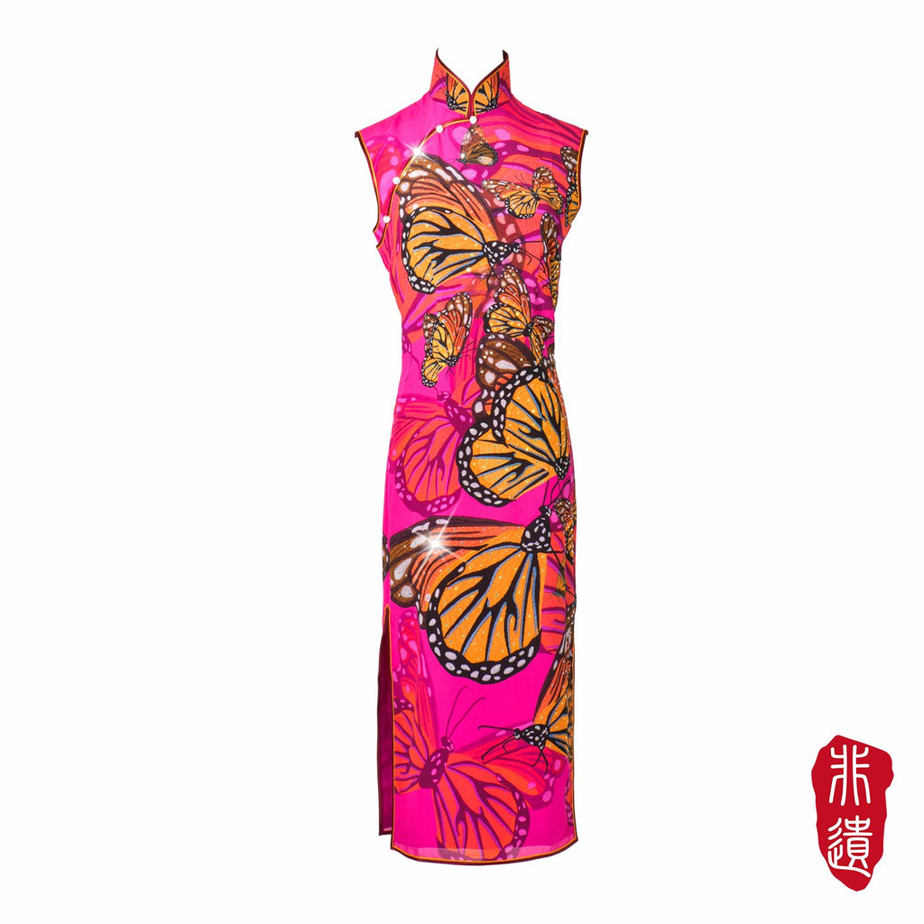 【BUTTERFLY】Masterpiece Collection Haute Couture 100% Silk Crystal Cheongsam