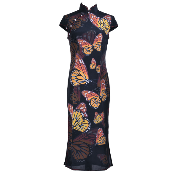 【BUTTERFLY】100% Silk Below Knee Qipao with Swarovski® Crystals - Black (Short Sleeves)