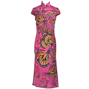 【BUTTERFLY】100% Silk Crystal Cheongsam (Cap Sleeve / Regular Fit) - THE SPARKLE COLLECTION by GERMAN POOL