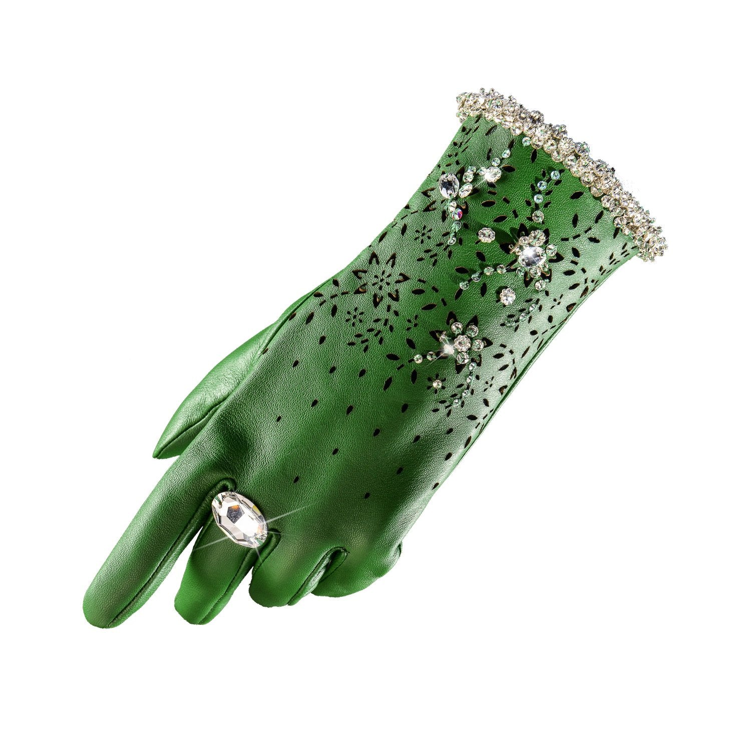 【COUTURE】Leather 2-way Glove-clutch with Strap and Swarovski® Crystals (1pc)