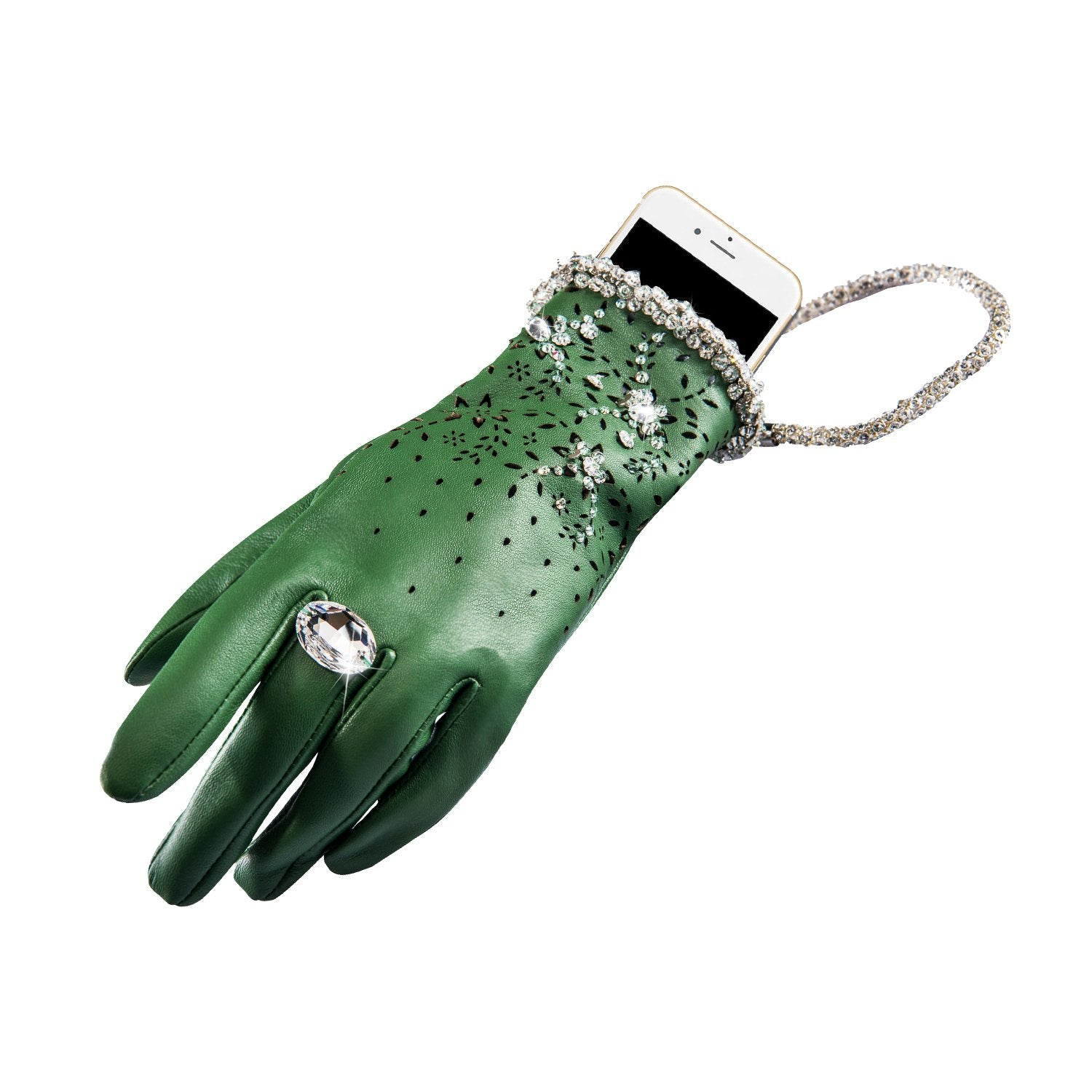 【COUTURE】Leather 2-way Glove-clutch with Strap and Swarovski® Crystals (1pc) - THE SPARKLE COLLECTION by GERMAN POOL