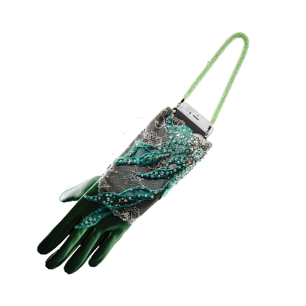 【COUTURE】 Lace Leather 2-way Glove-clutch with Strap and Swarovski® Crystals (1pc)