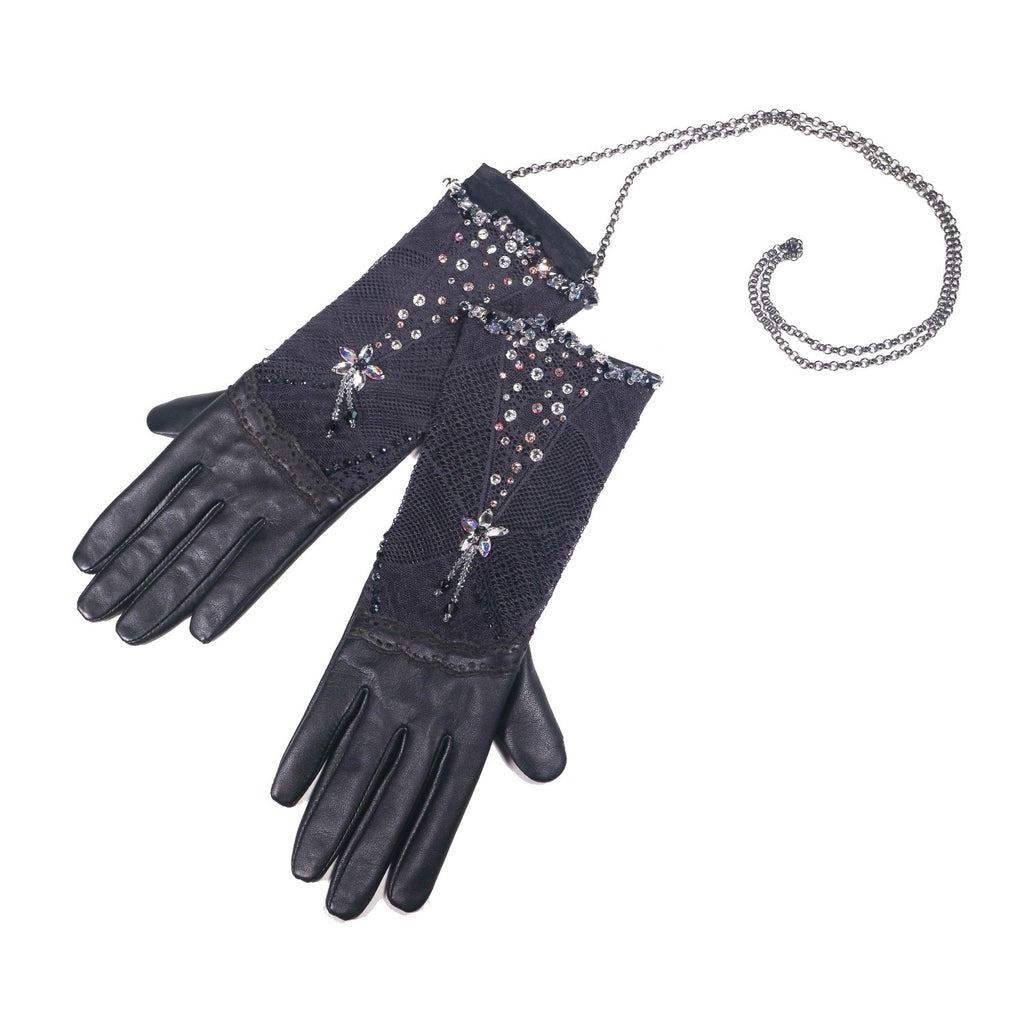 【COUTURE】 Lace Leather 2-way Glove-clutch with Strap and Swarovski® Crystals (1 pair)