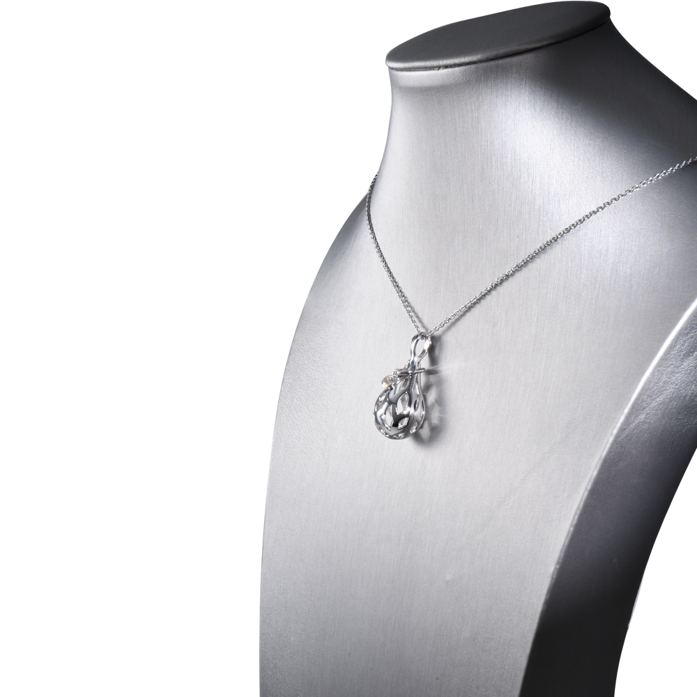 【RAIN DROP】 925 Sterling Silver Aromatherapy Locket with Crystal