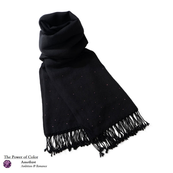 【THE STARRY SKY】100% Cashmere Scarf with Amethyst Swarovski® Crystals