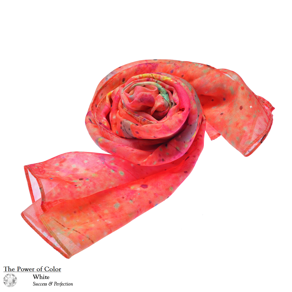 【LOTUS】100% Silk Lotus Painting Scarf with Crystals - THE SPARKLE COLLECTION by GERMAN POOL