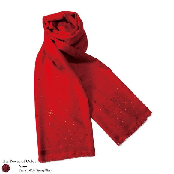 【PEONY】50% Wool Peony Floral Pattern Scarf with Swarovski® Crystals