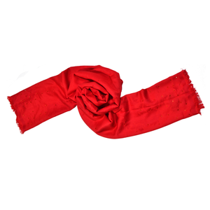 【PEONY】50% Wool Scarf with Crystals