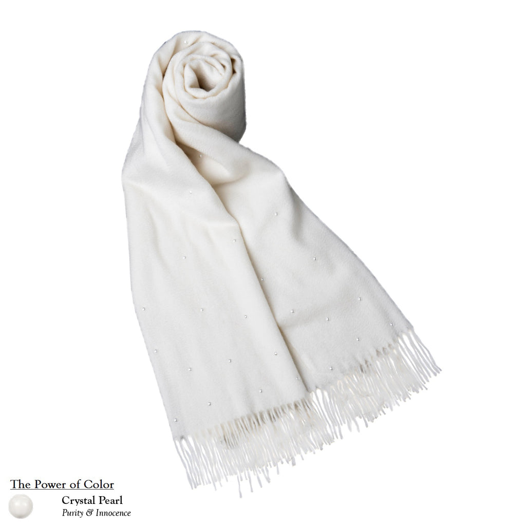 【SNOW WHITE】 100% Cashmere Scarf with Crystal Pearls