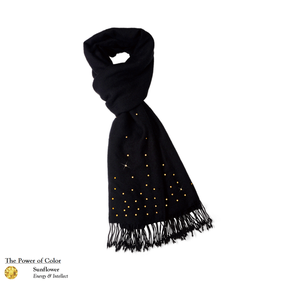 【THE STARRY SKY】100% Cashmere Scarf with Gold Swarovski® Crystals
