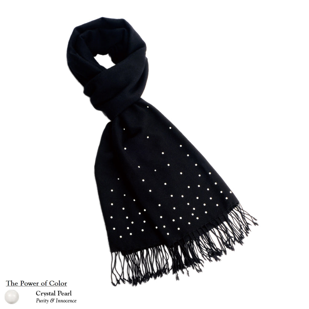 【THE STARRY SKY】 100% Cashmere Scarf with Crystal Pearls