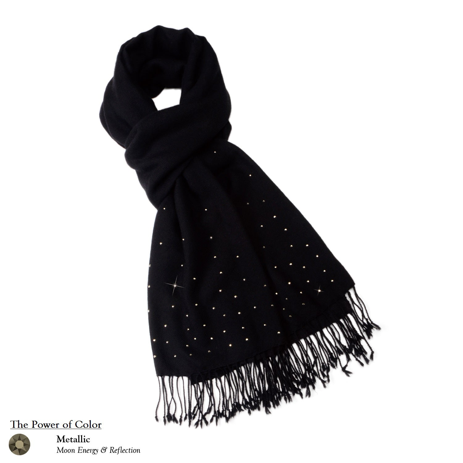 【THE STARRY SKY】 100% Cashmere Scarf with Crystals
