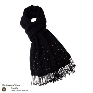 【THE STARRY SKY】 100% Cashmere Scarf with Metallic Swarovski® Crystals