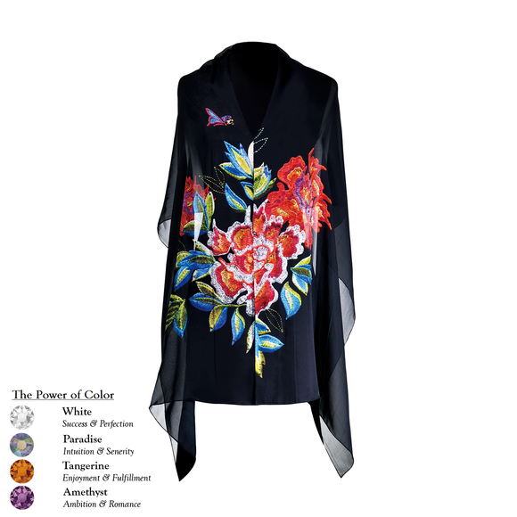 【PEONY】 100% Silk Scarf with Swarovski® Crystals - Black