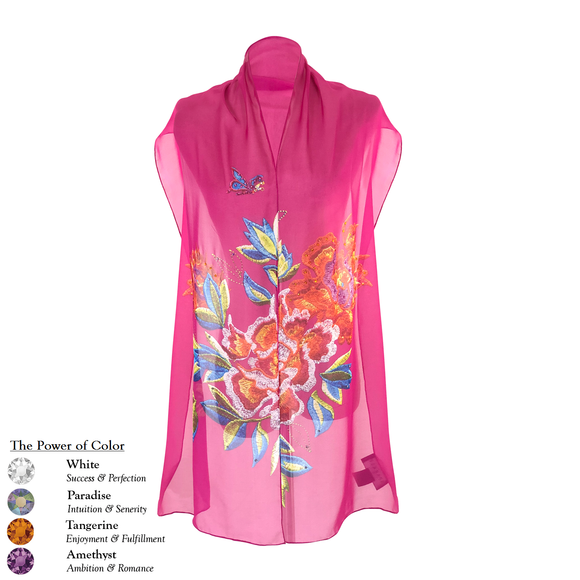 【PEONY】 100% Silk Scarf with Swarovski® Crystals - Purple