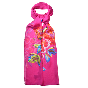 【PEONY】100% Cashmere and 100% Silk Scarf with Crystals
