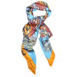【BUTTERFLY】100% Silk Scarf with Swarovski® Crystals - Blue