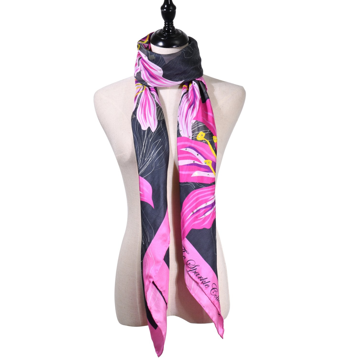 【BAUHINIA】 100% Silk Scarf with Crystals - THE SPARKLE COLLECTION by GERMAN POOL