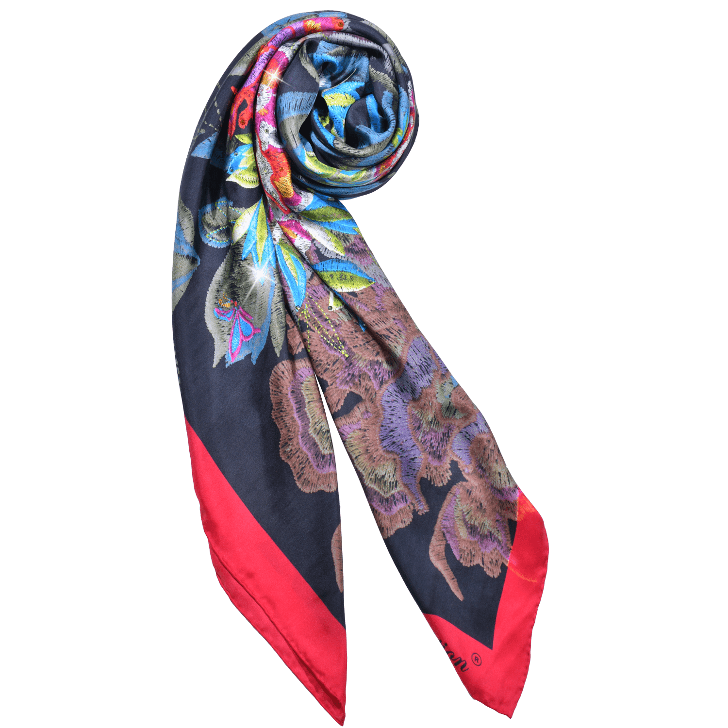 【PEONY】 100% Silk Scarf with Crystals - THE SPARKLE COLLECTION by GERMAN POOL