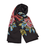 【PEONY】100% Cashmere And 100% Silk Scarf with Swarovski® Crystals in Black
