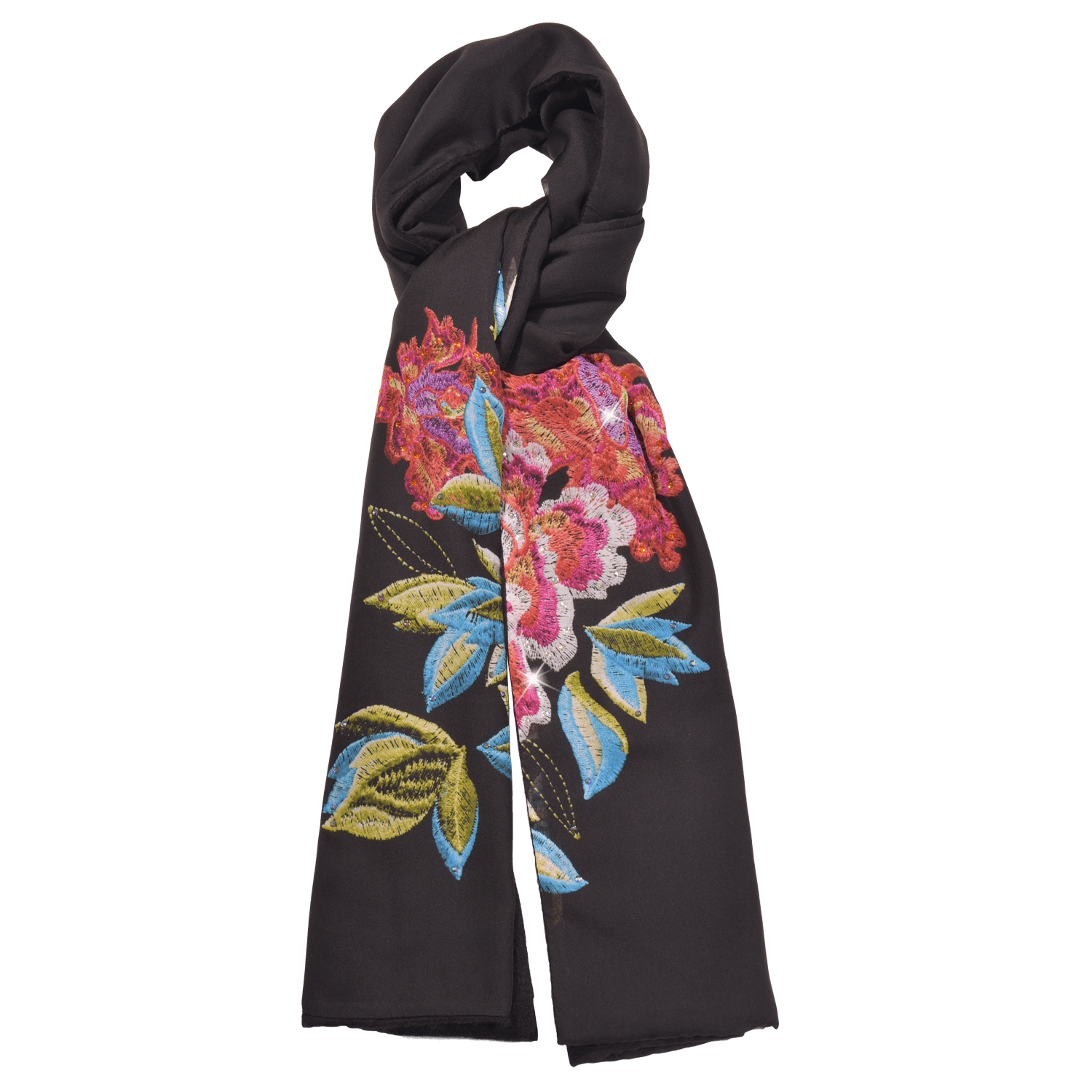 【PEONY】100% Cashmere and 100% Silk Scarf with Crystals - THE SPARKLE COLLECTION by GERMAN POOL