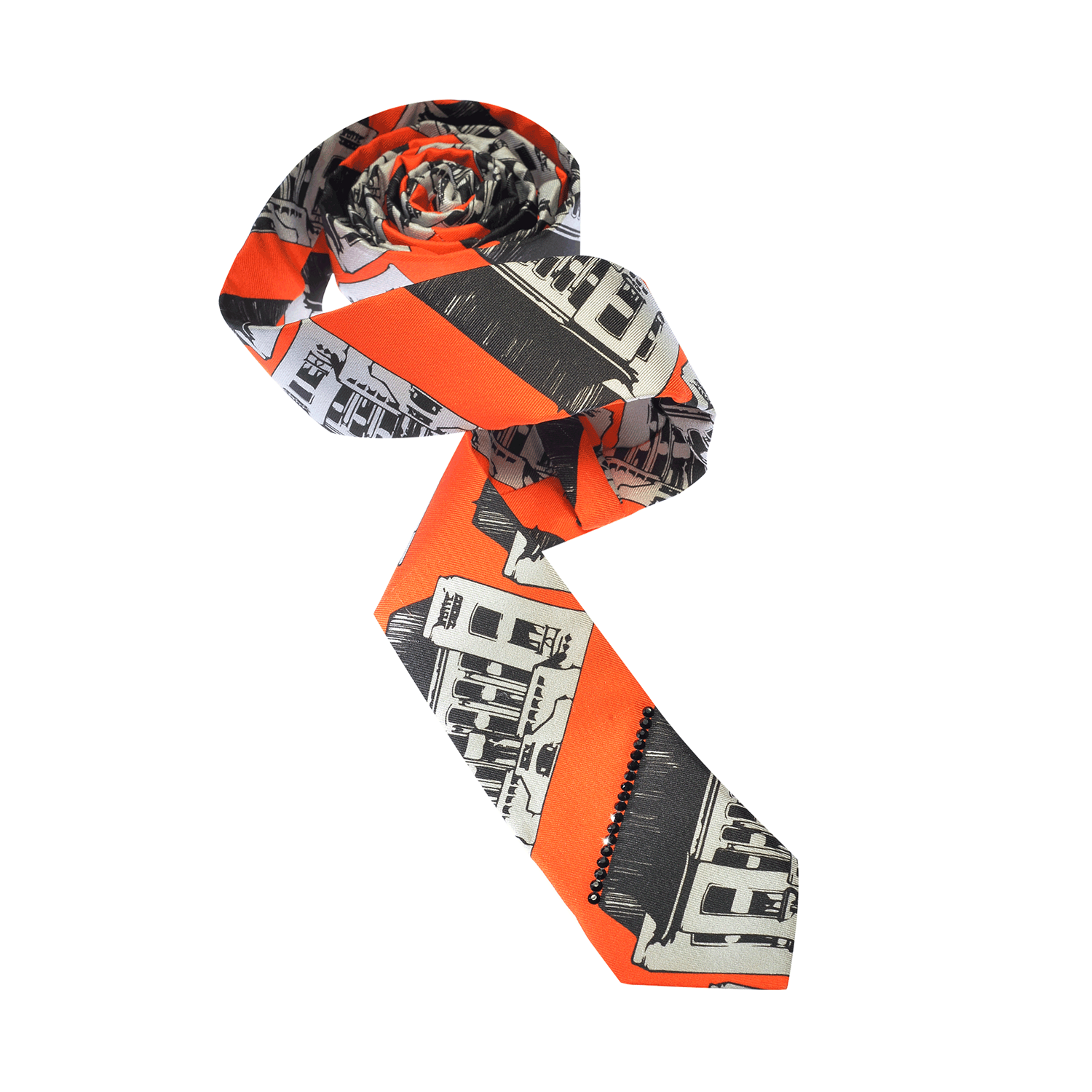 【MANSION】100% Silk Funky Chic Graphic Printed Tie with Swarovski® Crystals
