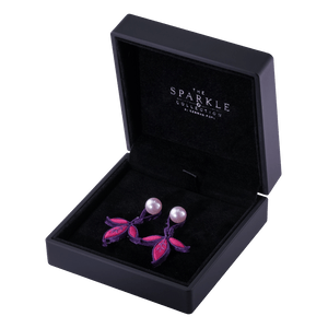 【LUCKY CRANE】Handcrafted Flower Button Earrings - THE SPARKLE COLLECTION by GERMAN POOL