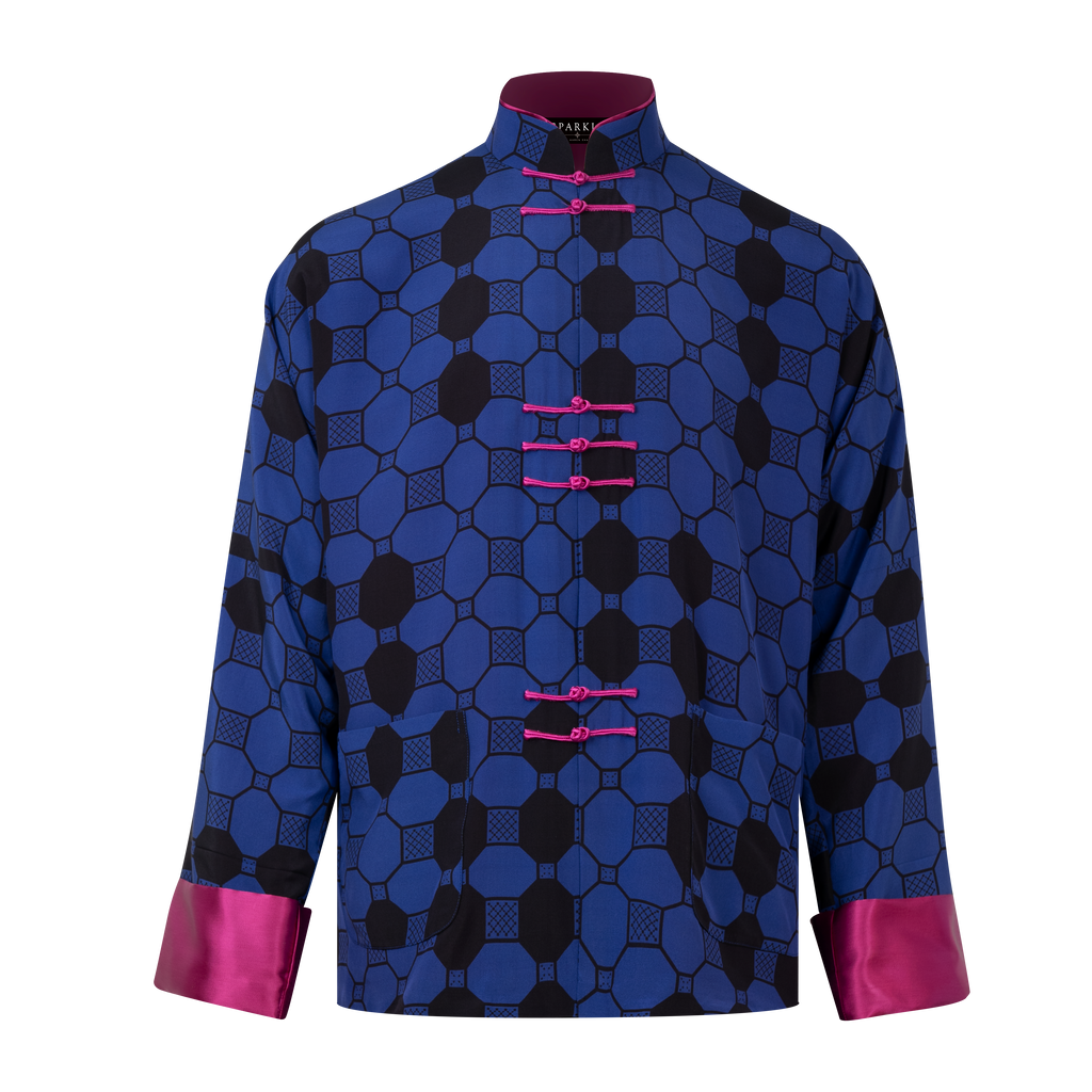 【TILE】100% Silk Tang Jacket-MEN - THE SPARKLE COLLECTION by GERMAN POOL