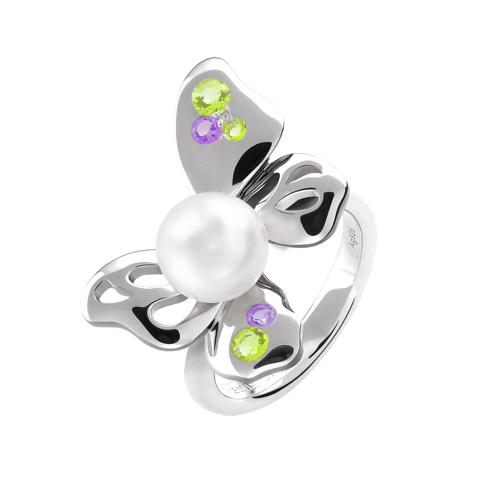 【BUTTERFLY】925 Sterling Silver Purple & Green Gemstone Ring - THE SPARKLE COLLECTION by GERMAN POOL
