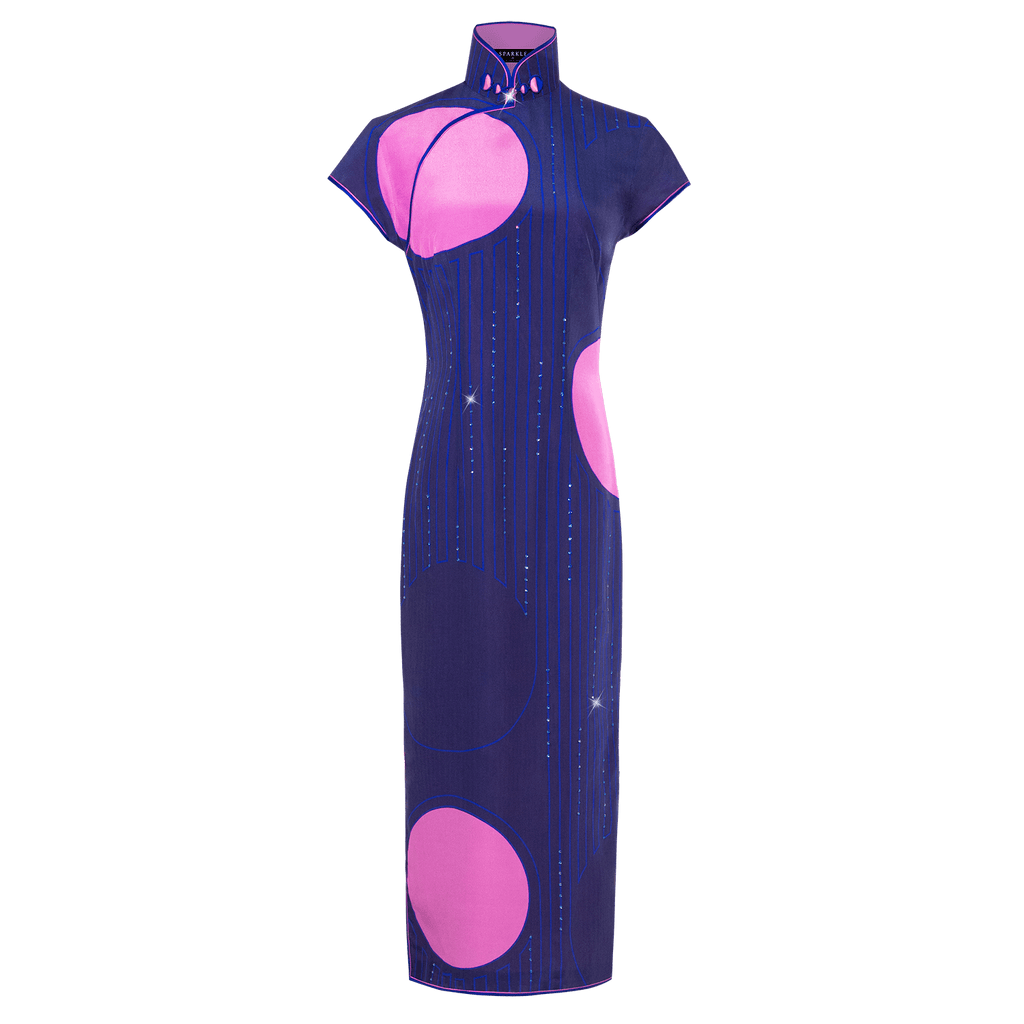 【PEARL OF HK】100% Silk Crystal Cheongsam - THE SPARKLE COLLECTION by GERMAN POOL