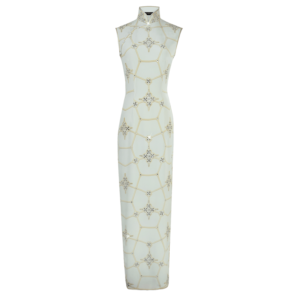 【SNOWFLAKE】100% Silk Crystal Cheongsam-Wedding Series - THE SPARKLE COLLECTION by GERMAN POOL