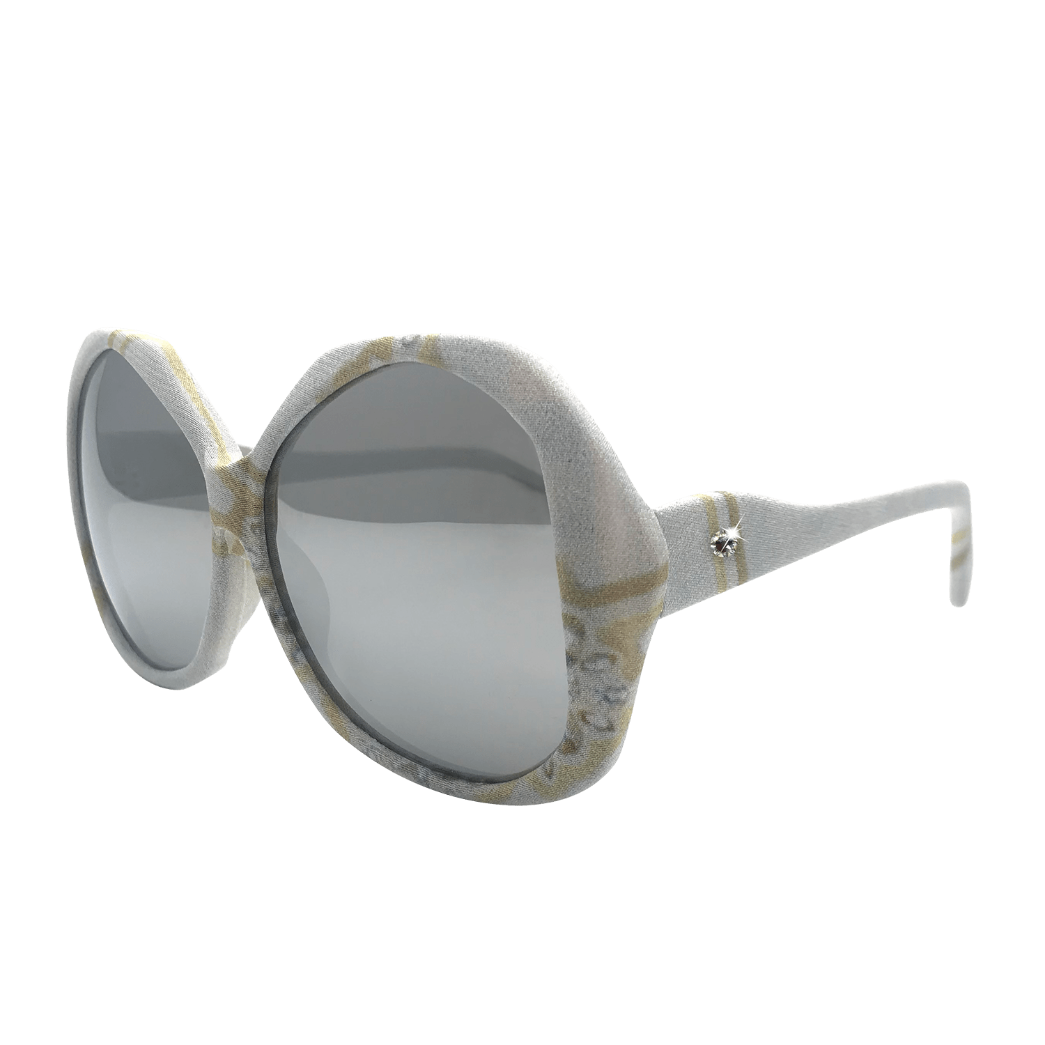 【SNOWFLAKE】Hand-made 100% Silk-wrapped Sunglasses UV400 - THE SPARKLE COLLECTION by GERMAN POOL